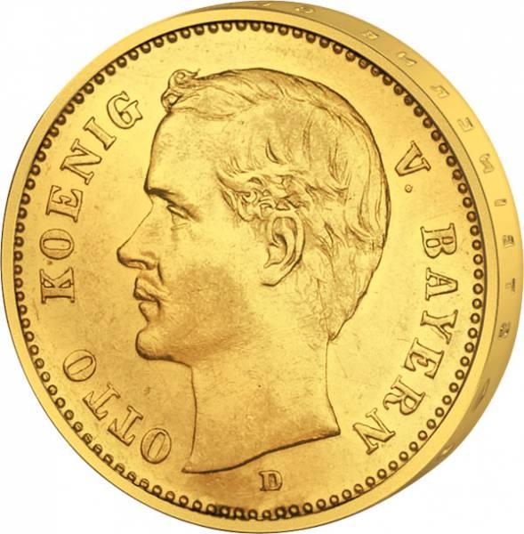 J. 201 10 Mark Bayern König Otto unterbrochene Umschrift 1900-1912 Vorzüglich