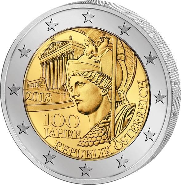 2 Euro Österreich 100 Jahre Republik 2018