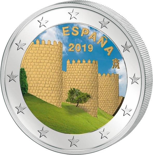 2 Euro Spanien UNESCO-Welterbe Altstadt von Avila 2019 mit Farb-Applikation