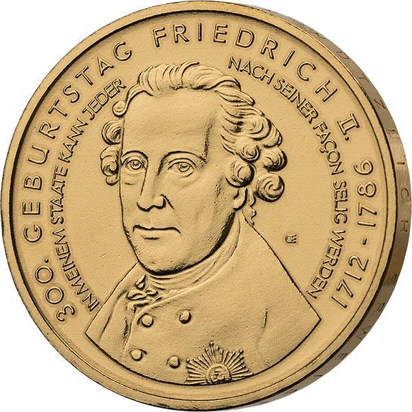 10 Euro BRD 300. Geburtstag von Friedrich II. 2012 vollvergoldet