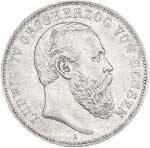 5 Mark Hessen Darmstad Großherzog Ludwig IV. 1888 Sehr schön