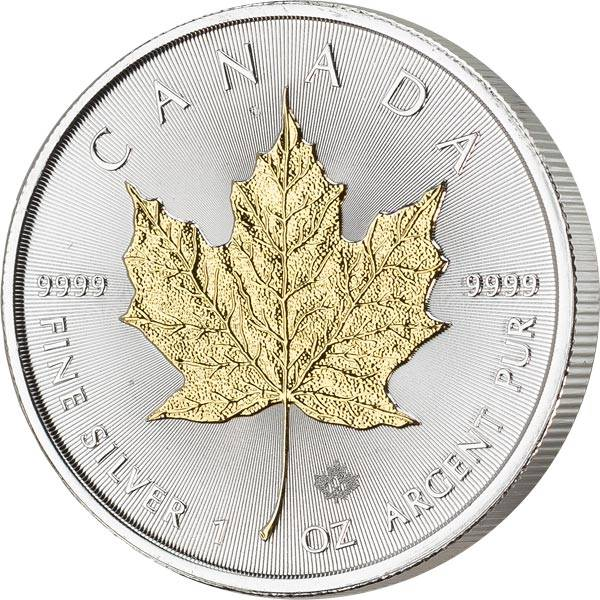 5 Dollars Kanada Maple Leaf 2020 mit Goldapplikation