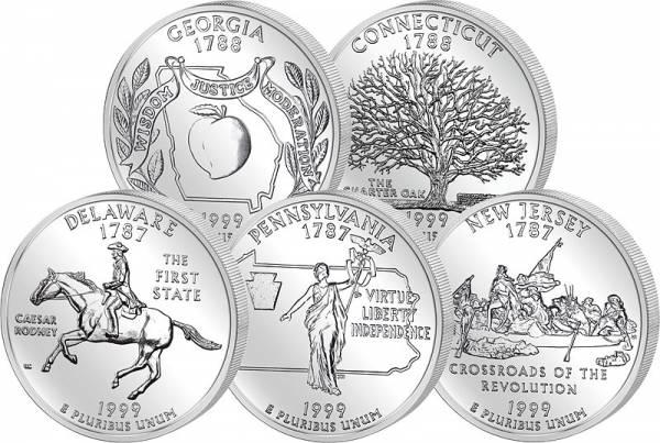 5 x 25 Cents USA State Quarters Erstausgaben 1999  vz - st