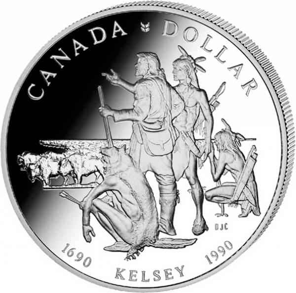 1 Dollar Kanada 300 Jahre Expeditionen von Henry Kelsey 1990