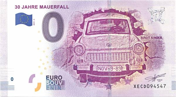 0-Euro-Banknote 30 Jahre Mauerfall 2019