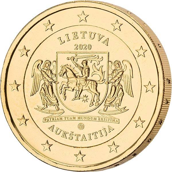 2 Euro Litauen Litauische Ethnographische Regionen Aukstaitija 2020 vollvergoldet