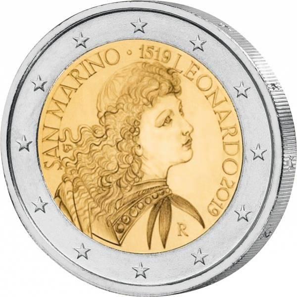 2 Euro San Marino 500. Todestag von Leonardo da Vinci 2019