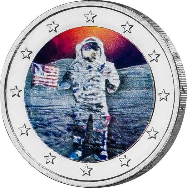 2 Euro BRD mit Farb-Applikation 50 Jahre Mondlandung 2019