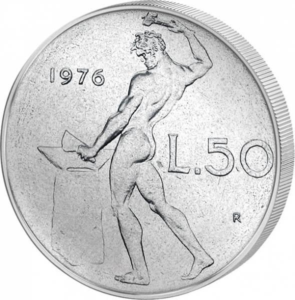 50 Lire Italien Feuergott Vulcanus am Amboss 1954-1989 Vorzüglich