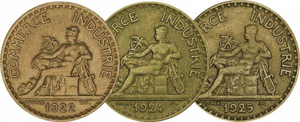 50 Centimes + 1 + 2 Francs Frankreich Kursmünzen 1920-1929