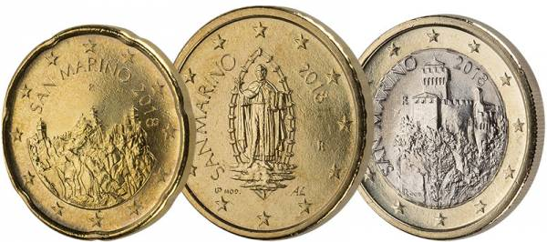 20 Cent - 1 Euro San Marino Kursmünzen 2018
