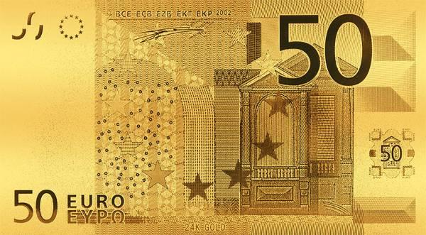 50 Euro 24 Karat vergoldete Folienbanknote