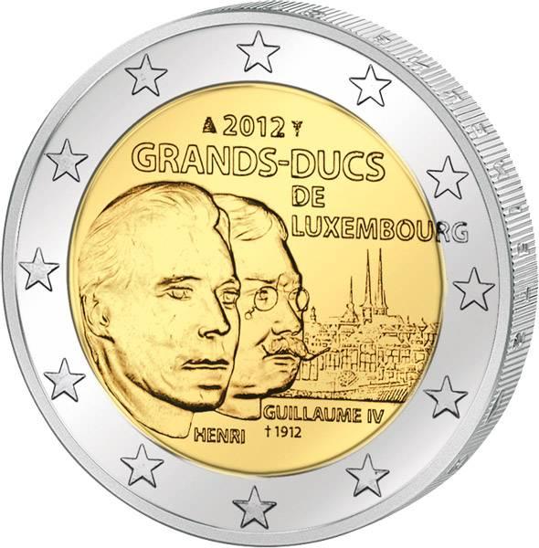 2 Euro Luxemburg 100. Todestag Wilhelm IV. 2012 prägefrisch