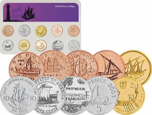 10er-Set Münzen mit Schiffsmotiven 1954 - 2013