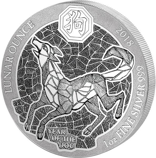 1 Unze Silber Ruanda Jahr des Hundes 2018
