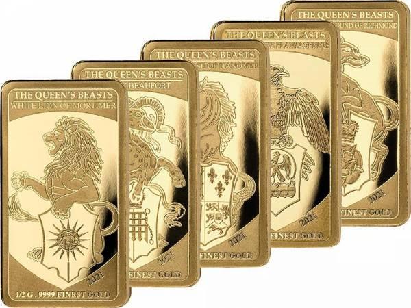 5 x 250 Francs CFA Senegal - The Queen's Beasts 2021