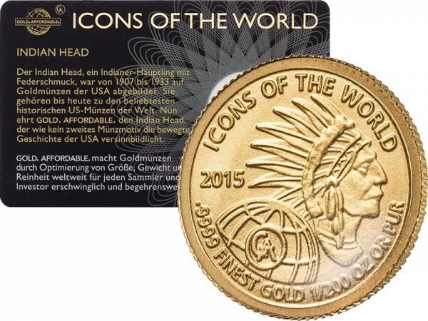 1/200 Unze Gold Ruanda Indian Head 2015