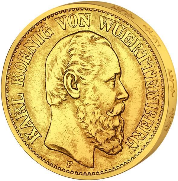 20 Mark Württemberg König Karl I. 1872-1873 Sehr schön