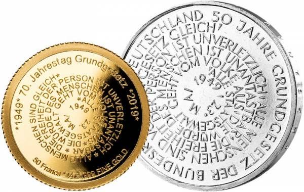 50 Francs Burundi 70 Jahre Grundgesetz 2019 + 10 DM BRD 50 Jahre Grundgesetz 1999