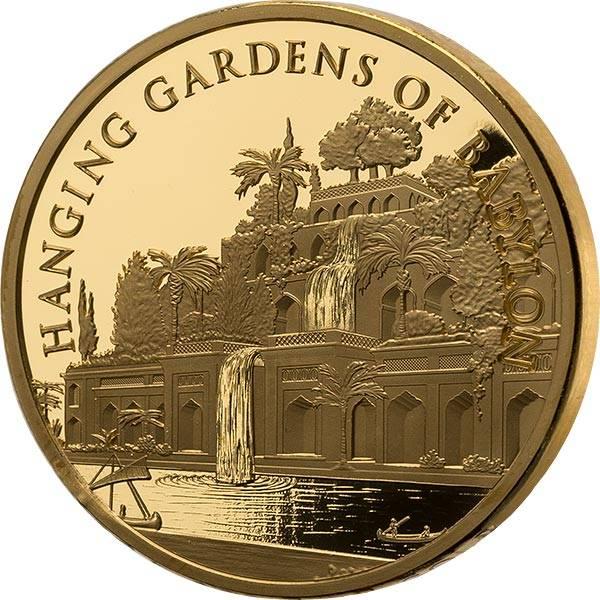 Gedenkprägung Gold Hängende Gärten Babylons