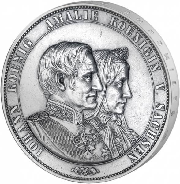 Taler Vereinsdoppeltaler Johann und Amalie 1872 Vorzüglich