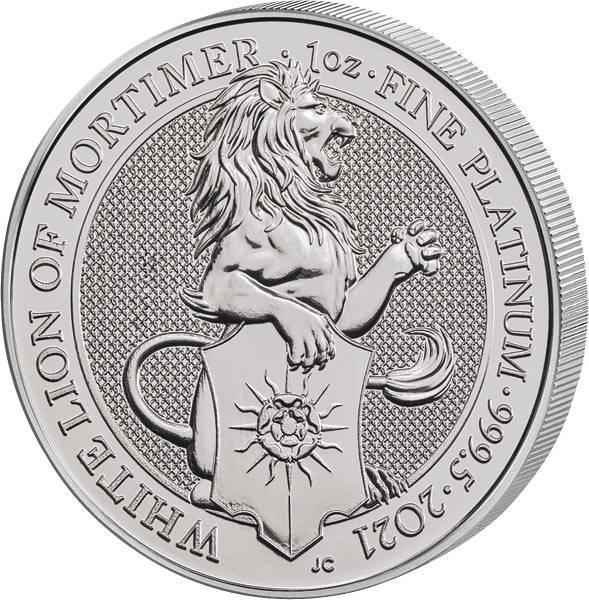 1 Unze Platin Großbritannien Löwe von Mortimer 2021