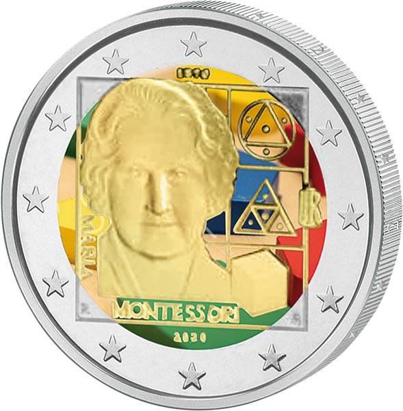 2 Euro Italien 150. Geburtstag von Maria Montessori 2020 mit Farb-Applikation