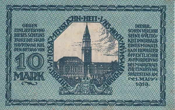 10 Mark Kiel Deutsches Kriegs-Notgeld 1918