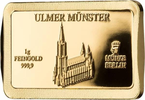 1 Gramm Goldbarren Deutsche Wahrzeichen Ulmer Münster - FOTOMUSTER