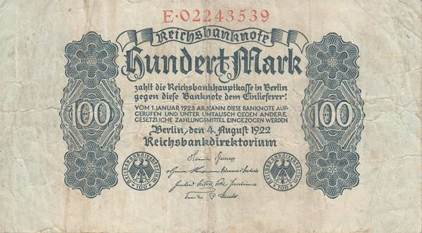 100 Mark Weimarer Republik Reichsbanknote