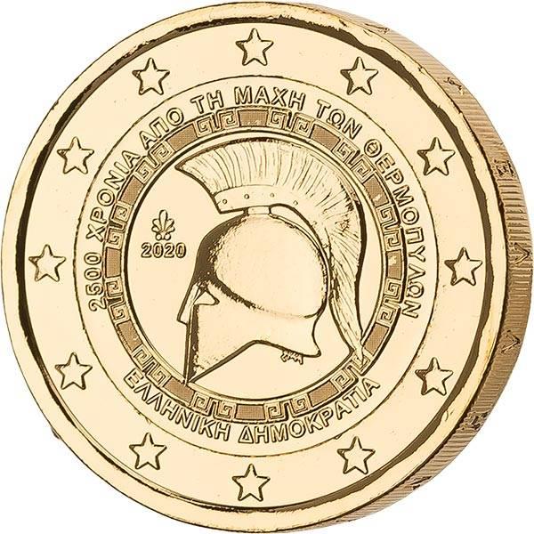 2 Euro Griechenland 2.500 Jahre Schlacht bei den Thermopylen vollvergoldet