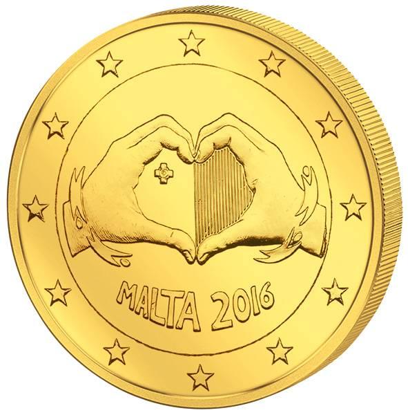 2 Euro Malta Von Kindern mit Solidarität Liebe 2016 vollvergoldet