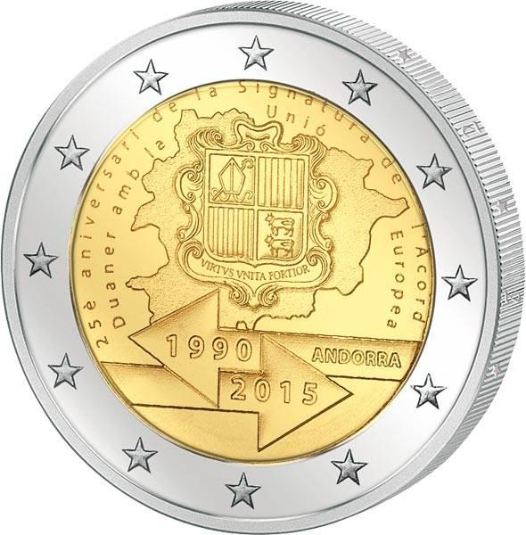 2 Euro Andorra 25 Jahre Zollunion mit der EU 2015