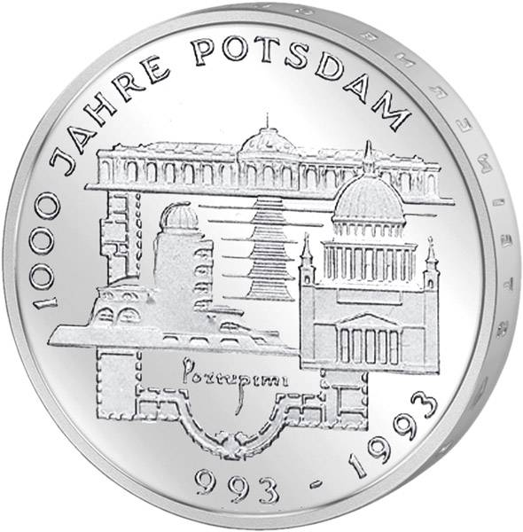 10 DM BRD  1000 Jahre Potsdam 1993 F vorzüglich