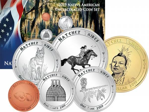 1 Cent - 1 Dollar USA Kursmünzen der Natchez 2019