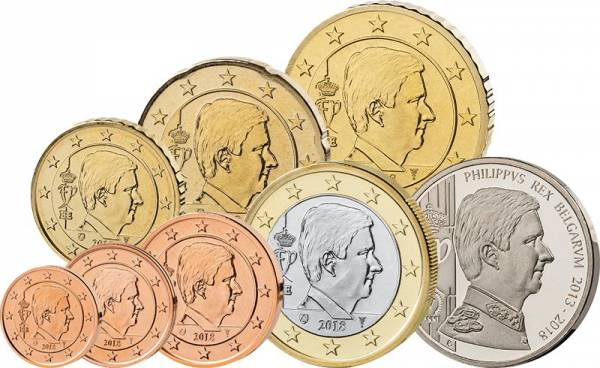 1 Cent - 1 Euro Kursmünzen Belgien  inkl. Gedenkprägung 2018