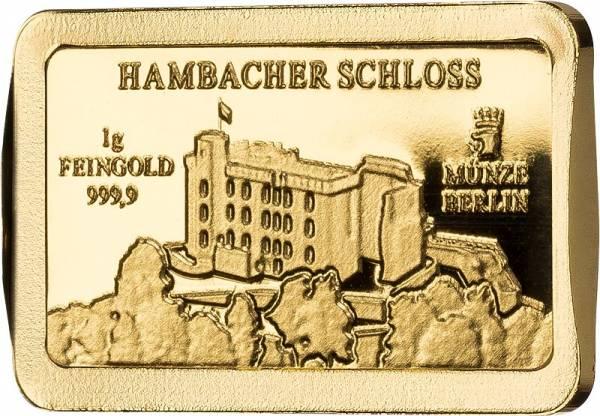 1 Gramm Goldbarren Deutsche Wahrzeichen Hambacher Schloss