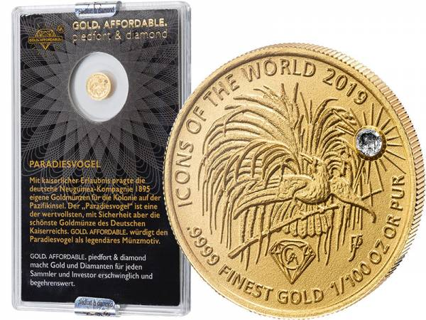 10 Francs Ruanda Gold Affordable Diamond Edition Paradiesvogel 2019