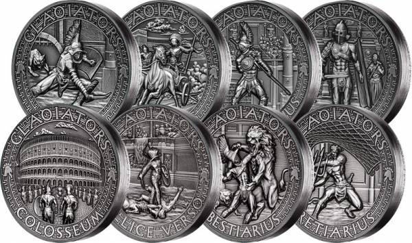 8 x 5 Dollars Salomonen Komplettserie Gladiatoren 2017