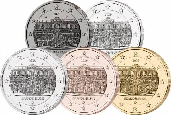 5 x 2 Euro BRD Deluxe Edition Brandenburg Sanssouci 2020