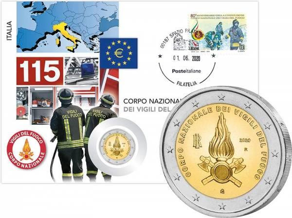 2 Euro Numisbrief Italien 80 Jahre Feuerwehr in Italien 2020