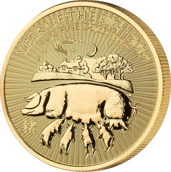 1 Unze Gold Großbritannien Jahr des Schweins 2019