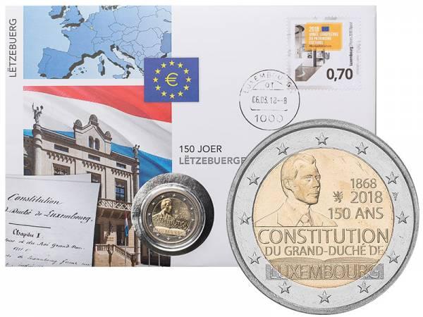 2 Euro Numisbrief Luxemburg 150 Jahre Verfassung 2018