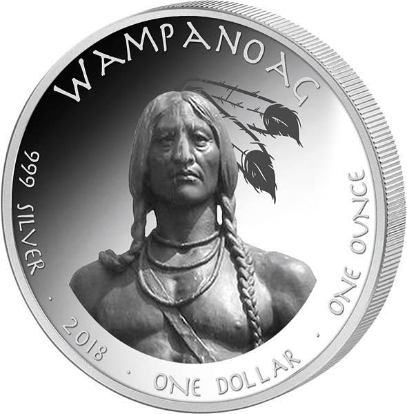 1 Dollar USA Native State Dollar Wampanoag Rhode Island Weißer Hai 2018