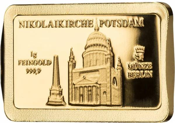 1 Gramm Goldbarren Deutsche Wahrzeichen Potsdamer Nikolaikirche