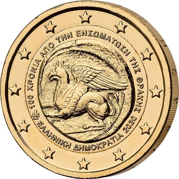 2 Euro Griechenland 100. Jahrestag der Vereinigung Thrakiens mit Griechenland vollvergoldet 2020
