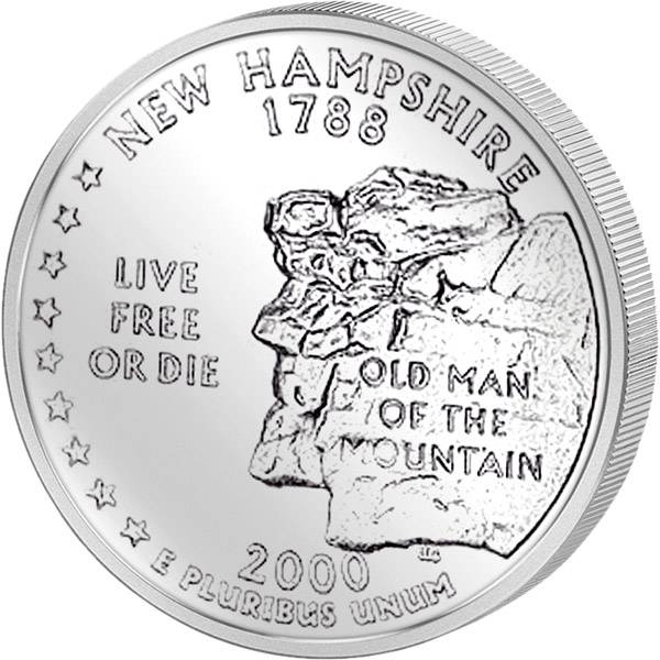 Quarter Dollar USA New Hampshire 2000