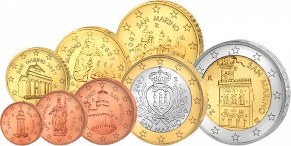 1 Cent-2 Euro (8 Werte) Euro-Kursmünzensatz San Marino J.u.W. prägefrisch