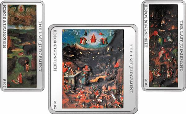 2 x 1 u. 2 Dollars Tokelau Hieronymus Bosch Weltgerichtstriptychon 2016
