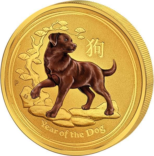 1/20 Unze Gold Australien Jahr des Hundes 2018 mit Farb-Applikation